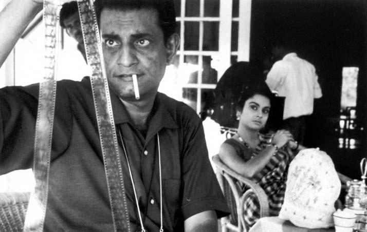 Satyajit Ray and Madhabi Mukherjee during production on CHARULATA, 1964.