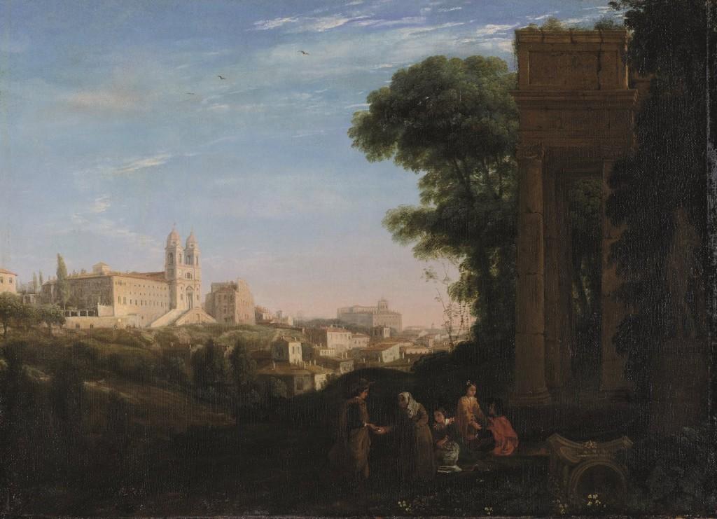 Claude Gellée Le Lorrain Vue de Rome avec une scène de prostitution cp
