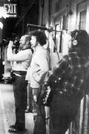Michel Brault et André Gladu sur le tournage du Son des français d'Amérique