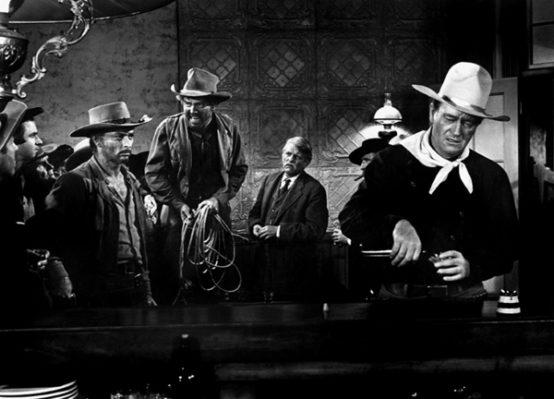 Prod DB © Paramount / DR L'HOMME QUI TUA LIBERTY VALANCE (THE MAN WHO SHOT LIBERTY VALANCE) de John Ford 1962 USA avec Lee Van Cleef, Strother Martin et John Wayne western, saloon, chercher la bagarre